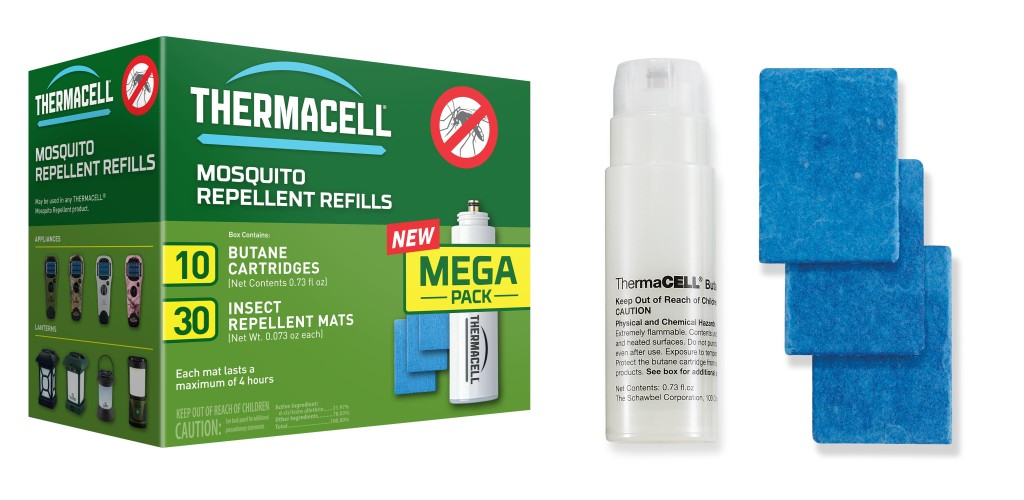 At the heart of Thermacell's repellent system is a butane cartridge that heats a metal grill. Repellent-infused mats are heated by the grill, allowing for efficient vaporization and dispersal of the repellent. Refills are offered in 12-, 48-, and 120-hour quantities.