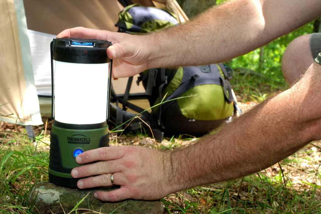 Trailside campers and short-duration backpackers will appreciate the combined wide-area lighting and insect repellent capabilities of the Thermacell Repellent Camp Lantern. And when it's time to slip inside the sleeping bag, the lantern can be separated and the base hung inside your tent for interior lighting.