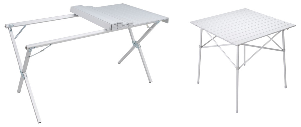 "Standard ""box store"" folding tables are too cumbersome and heavy to haul around, even when camping from a vehicle. We're particularly fond of the accordion-style camp and dining folding tables. They pack down to a small size and come in their own storage bag."
